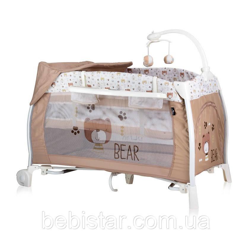 Манеж-кровать бежево-белый Lorelli I'Loung 2 москитная сетка колеса два уровня пеленатор сумка музыка карусель