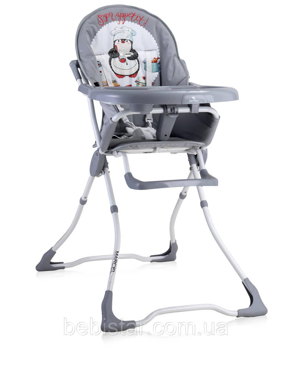 Стульчик для кормления бело-серый Lorelli Marcel на вес ребенка до 15 кг с полугода до 3-х лет