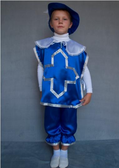 Карнавальний костюм Мушкетер синій для хлопчиків від 3 до 6 років