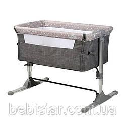Приставная кроватка серая Lorelli Sleep'N'Care с рождения и до 6-ти месяцев