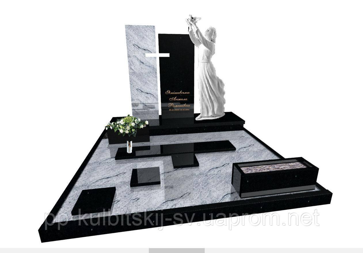 Ексклюзивний пам'ятник комплекс з білого граніту і ритуальною скульптурою ангелаN4011/
