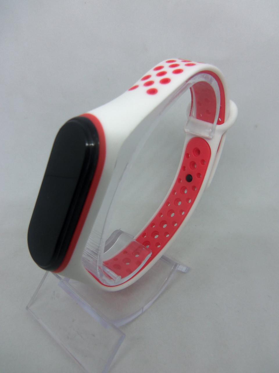 Ремешок перфорированный  Sport браслет  Mi Band 3/4 MiBand 3/4 ми бенд 3/4 бело-красный