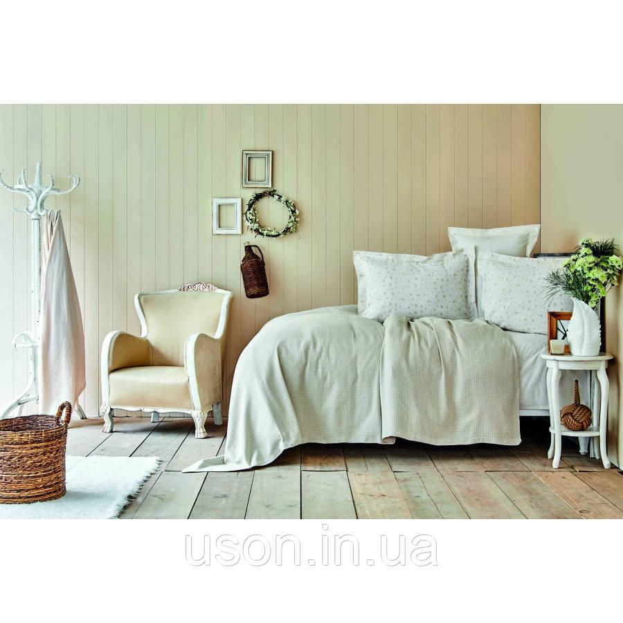 Комплект постельного белья с покрывалом Pike jacquard 200*240 TM Karaca Home Fois bej
