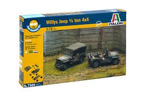 WILLYS JEEP 1/4 TON 4X4. Сборная модель (2 модели в наборе). Сборка без клея. 1/72 ITALERI 7506