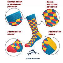 Высокие носки, размер 38-43, яркие, happy socks, без рисунка, мужские/женские - унисекс, фото 2