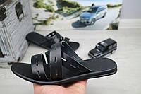 Шлепанцы\шлепки мужские черные кожаные летние размер Обувь для мужчин на лето Bonis Украина