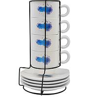 Чашки з блюдцями на підставці 9пр/наб (15346)