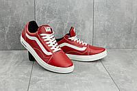 Стильные мужские кеды кожаные красные Vans (реплика) классические повседневные ярко красного цвета CrosSAV 118