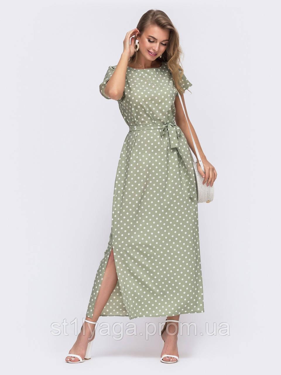 Платье-миди в горох с разрезами по бокам зеленое  ЛЕТО