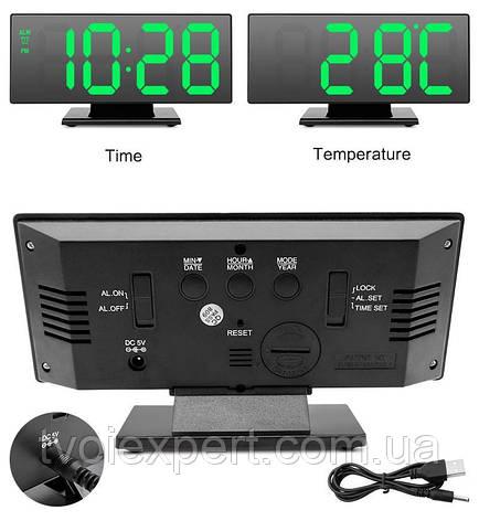 Настольные Электронные LED Зеркальные часы DS-3618 Черные с Зеленой подсветкой, фото 2