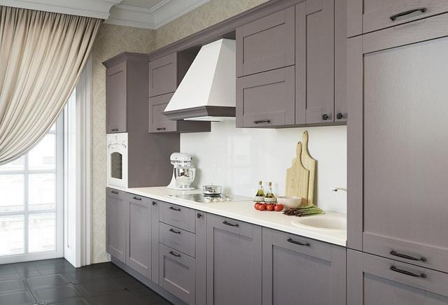 Кухня кольору мокко з контрастною фурнітурою