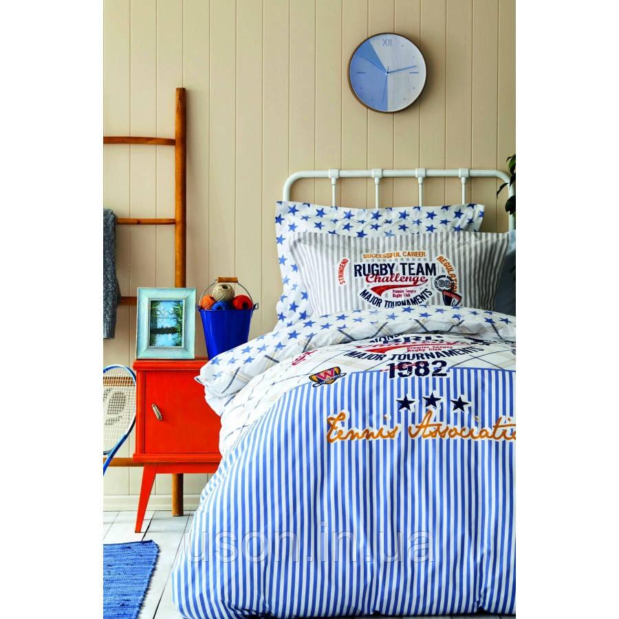 Комплект постельного белья с покрывалом Pike 160*220 TM Karaca Home Challenge mavi
