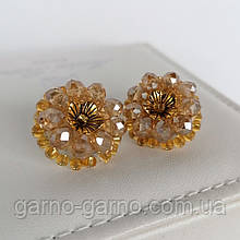 Сережки прозорі з кришталевими намистинами бісером повсякденні вечірні стильні сережки бежеві з квіткою