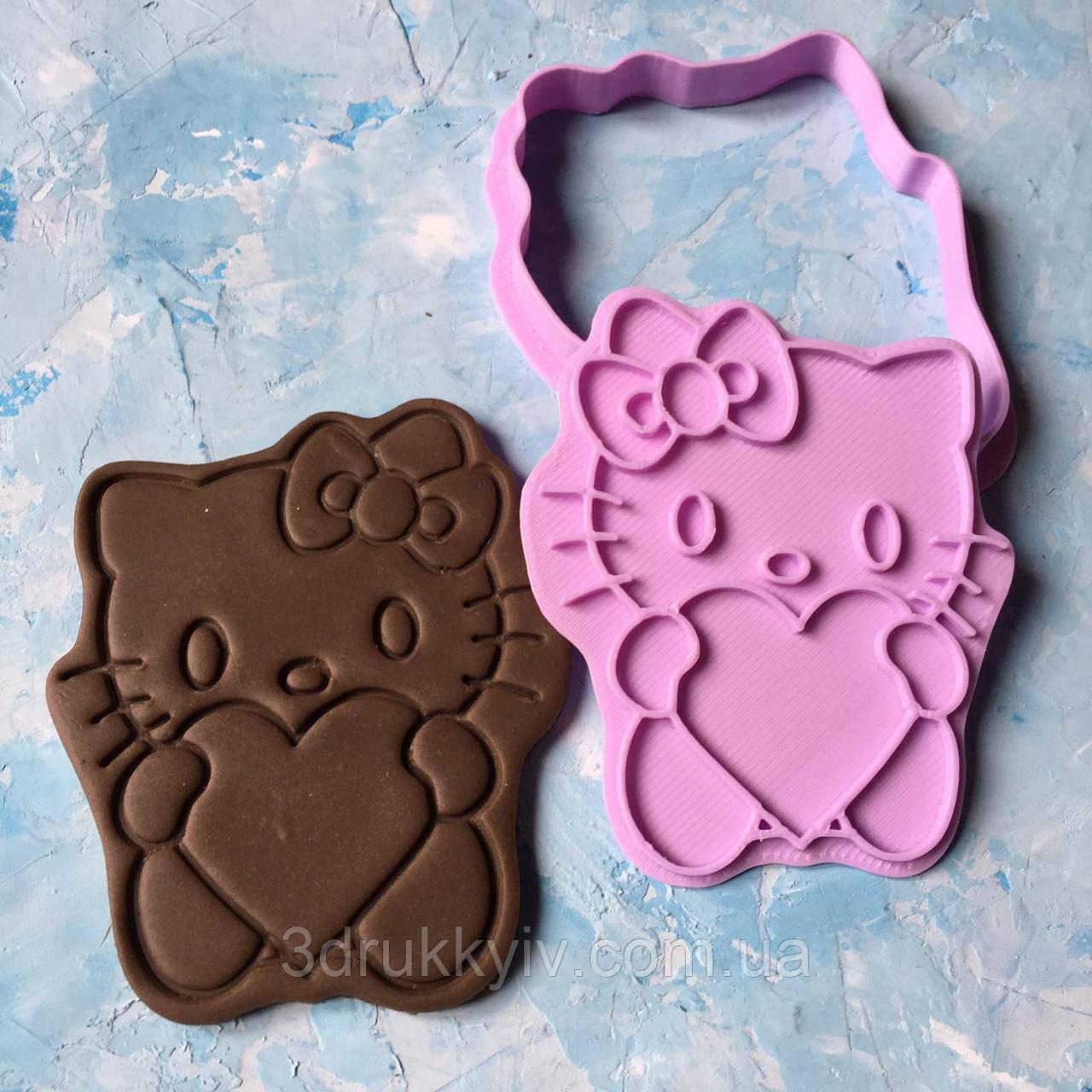 """Вирубка зі штампом """"Hello Kitty #1"""" / Вирубка - формочка зі штампом для пряників """"Хелло Кітті #1"""""""