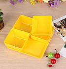 Менажница, тарелка для соусов 4 шт на подносе Желтый (Р-136)