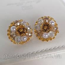Сережки з кришталевими намистинами бісером повсякденні вечірні стильні сережки золотисті з квіткою і перлами