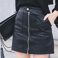 Юбка женская из искусственной кожи с высокой талией и карманами