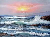 50х40 см алмазная мозаика МОРСКОЙ ПЕЙЗАЖ вышивка картина мозаїка діамантова вишивка море океан прибой 50 х 40