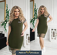 Жіноче плаття з сіткою-спортивний стиль,хакі 42,44,46,48,50,52,54, фото 1