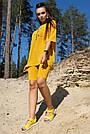 Спортивный прогулочный костюм женский с велосипедками цвет горчица трикотаж, фото 3