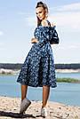 Летнее синее платье миди с открытыми плечами с цветочным принтом, фото 3