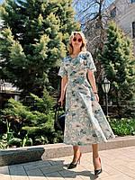 Летнее платье женское красивое с запахом в цветочный принт длины Миди (Норма)