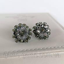 Сережки прозорі з кришталевими намистинами бісером повсякденні вечірні стильні сережки маленькі сріблясті