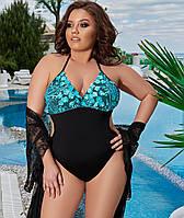 Жіночий злитий купальник з вишивкою 48-52, 54-58, фото 1