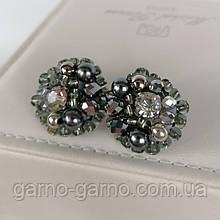 Сережки з кришталевими намистинами бісером повсякденні вечірні стильні сережки сріблястий з кришталем