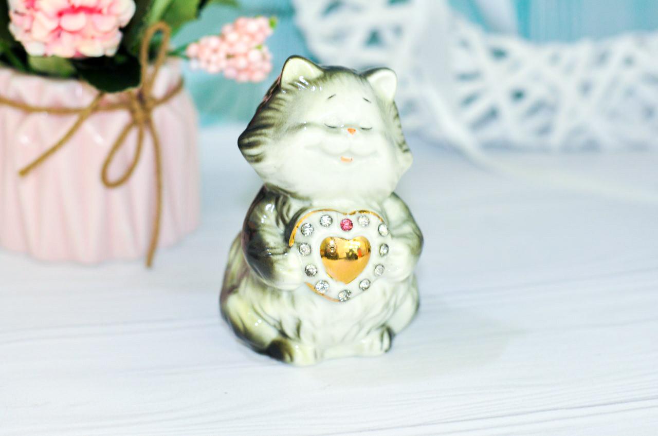 """Фарфоровая статуэтка """"Котик"""", 9.5 см"""