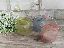 Подсвечники-баночки стеклянные подвесные, 7,5*6,5 см, 75\55 грн (цена за 1шт. +20 грн)