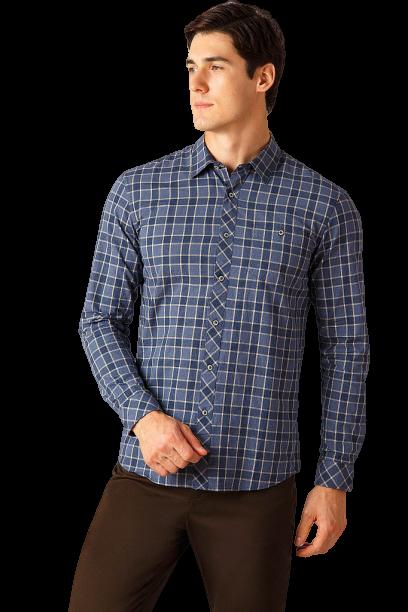 Мужская рубашка в клетку с длинным рукавом Finn Flare A18-22028-101 синяя