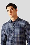 Мужская рубашка в клетку с длинным рукавом Finn Flare A18-22028-101 синяя, фото 5