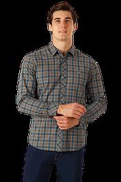 Мужская клетчатая рубашка с длинным рукавом Finn Flare A18-22028-900 хаки