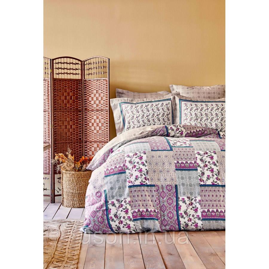 Комплект постельного белья сатин Karaca Home евро размер Maryam fusya