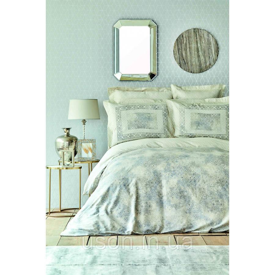 Комплект постельного белья сатин Karaca Home евро размер Vina gri