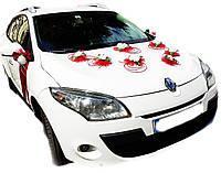 Набор украшений на машину Планета роз. Цвет красный.