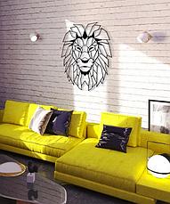 """Картина из металла лев -  """"Аслан"""" (черный мат + римское золото). Декоративное панно на стену., фото 2"""