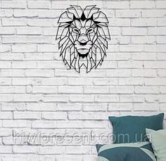 """Картина из металла лев -  """"Аслан"""" (черный мат + римское золото). Декоративное панно на стену., фото 3"""