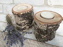 Подсвечник - натуральный березовый декор h-10-15 см, 60/45 (цена за 1 шт. + 15 грн.)