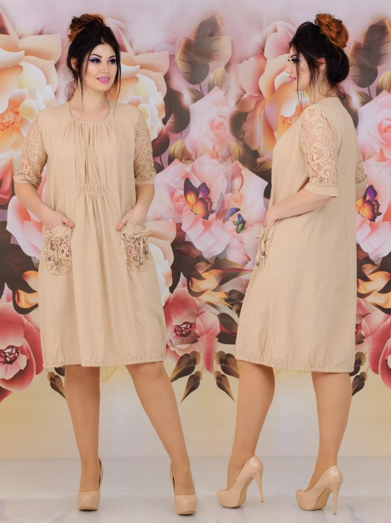 """Літнє жіноче плаття у великих розмірах 309 """"Льон Рукава Кишеньки Гіпюр"""" в кольорах"""