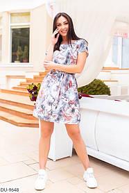 Летнее платье с цветочным принтом в нюдовых тонах