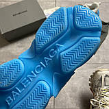 Женские кроссовки Balenciaga Triple S Clear Sole White Blue кроссовки баленсиага трипл с, кроссовки баленсияга, фото 9