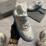 Женские кроссовки Balenciaga Triple S Clear Sole White Blue кроссовки баленсиага трипл с, кроссовки баленсияга, фото 2
