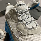 Женские кроссовки Balenciaga Triple S Clear Sole White Blue кроссовки баленсиага трипл с, кроссовки баленсияга, фото 4