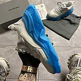 Женские кроссовки Balenciaga Triple S Clear Sole White Blue кроссовки баленсиага трипл с, кроссовки баленсияга, фото 3