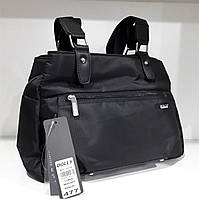 Сумочка тканевая женская черная на три отделения с карманами для папок А4 Dolly 477