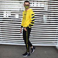 Спортивный мужской костюм  худи штаны хлопок Off White офф вайт желтый с черным весна лето Киев