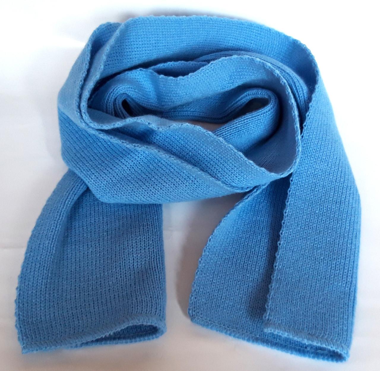 Шарф на шею короткий 16х45 см голубой