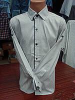 Белая хлопковая подростковая рубашка  с длинным рукавом
